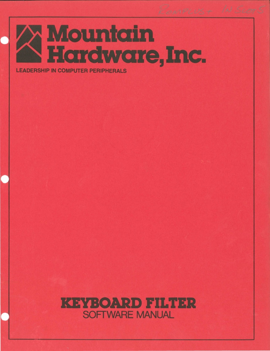 Mountain keyboard filter software manual