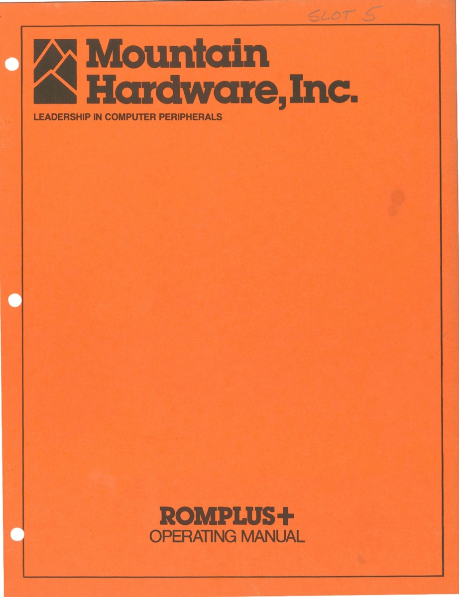 Mountain romplus operating manual