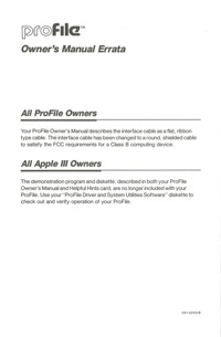 Profile owners manual errata