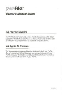 Profile owners manual errata