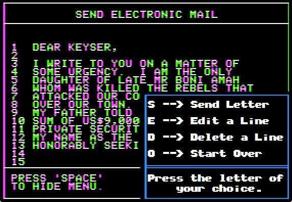 Mailbag editor menu