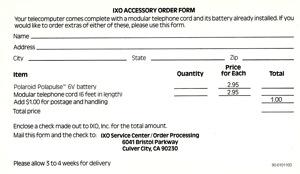 Ixo batt cord order