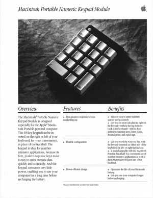 Macintosh portable numeric keypad 8909